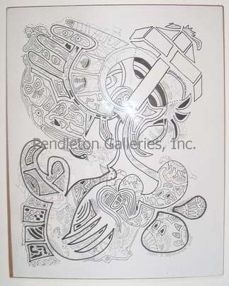 """XIV"" surrealistic subliminal art pen and ink drawing in the ""Freaky Faces"" series"